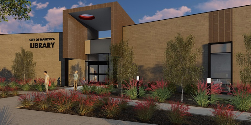 Exterior rendering of the new Maricopa Public Library