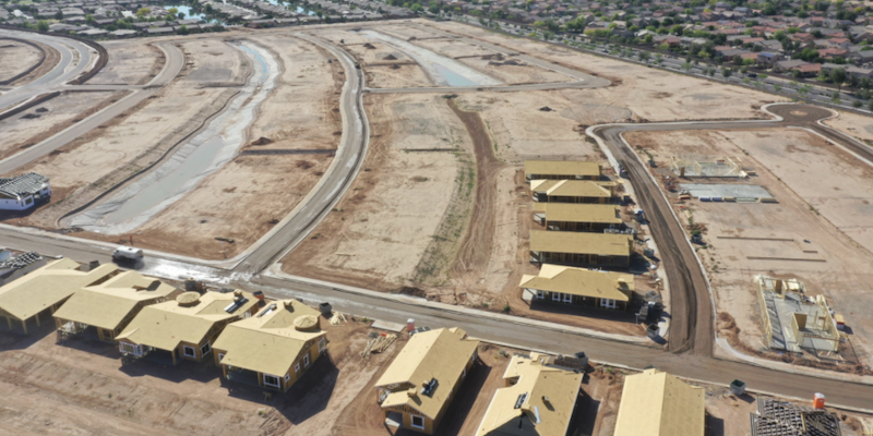 aerial photo of homes under construction