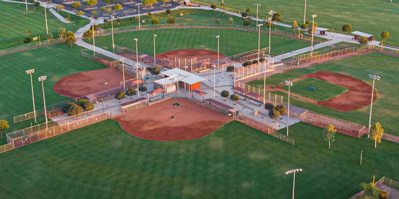drone shot of baseball fields in maricopa